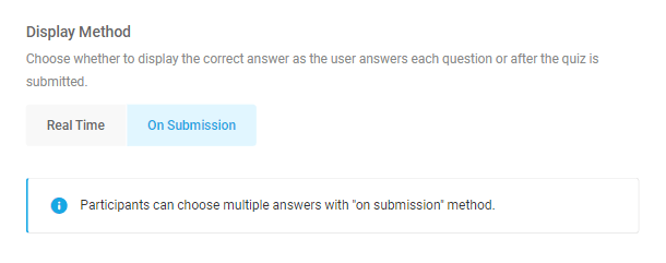 Option to display quiz answers on quiz submission