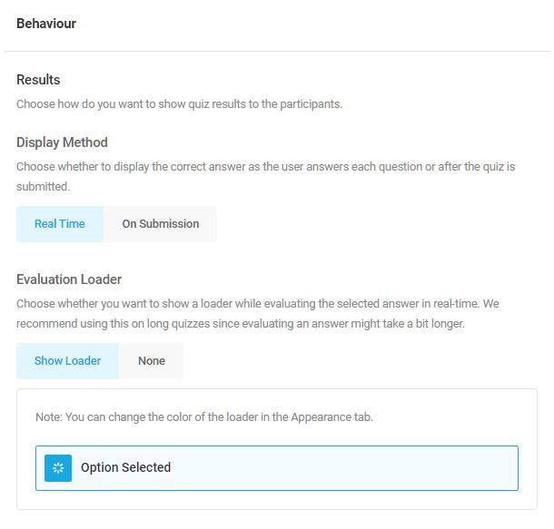 Adjust behavior options in a Forminator quiz