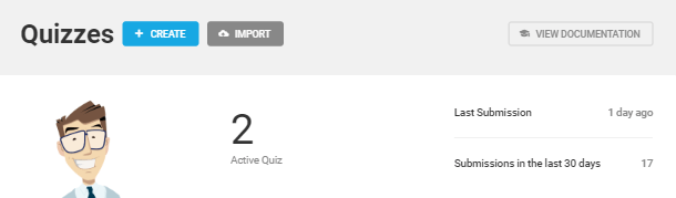 Quizzes tab overview in Forminator