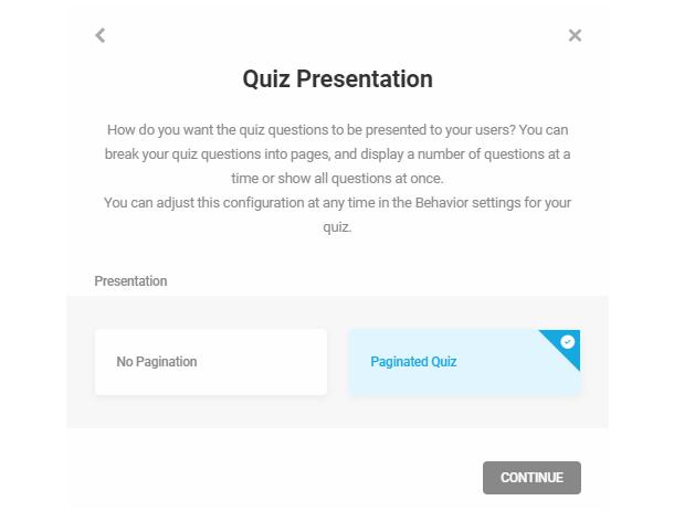 Set pagination in quiz