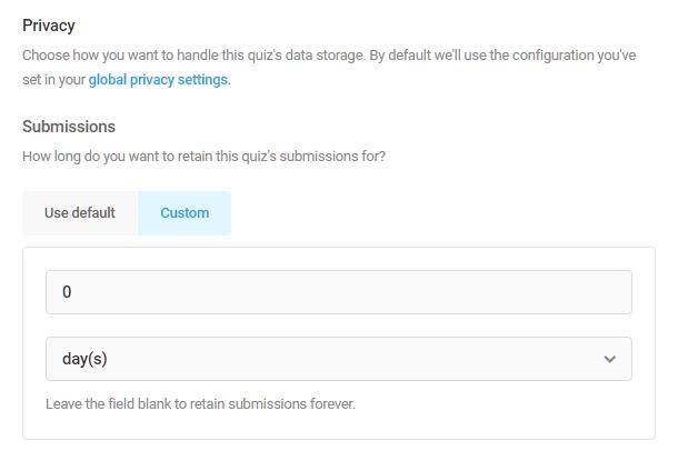 Set data storage duration in Forminator quiz