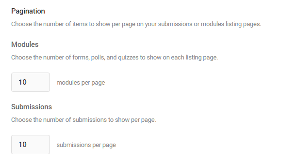 Set the number of each module to display per page in Forminator listings