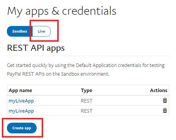 Get live PayPal API keys to connect with Forminator