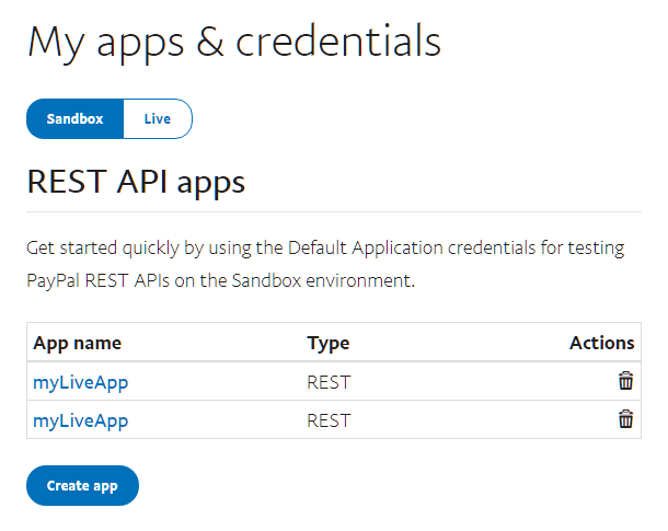 Get PayPal sandbox API keys to connect with Forminator