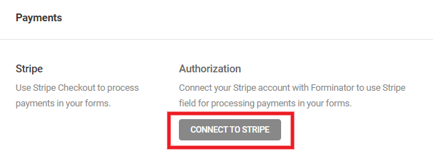Connect Stripe payment gateway in Forminator