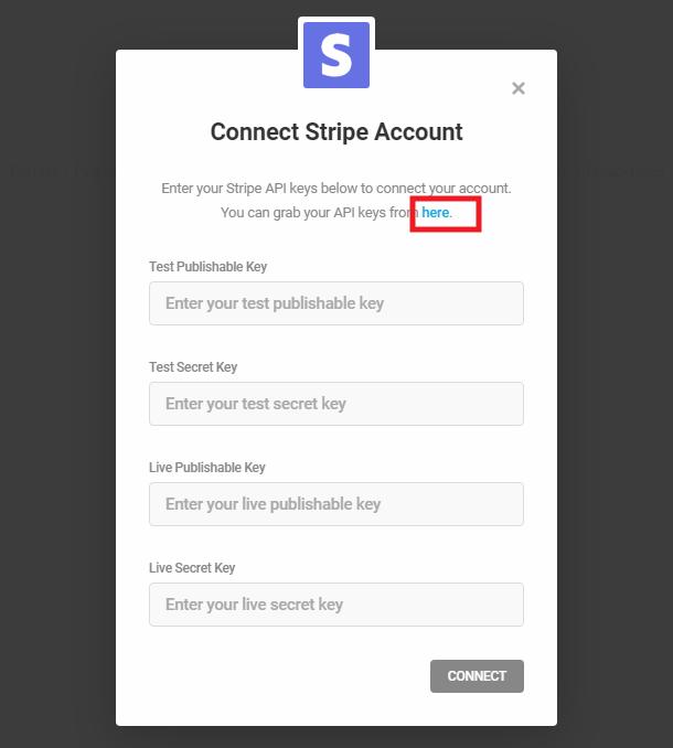 Enter Stripe API keys to connect with Forminator