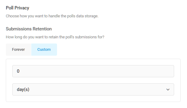 Set poll submission retention period in Forminator