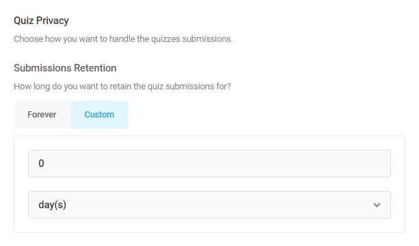 Set quiz submission retention period in Forminator