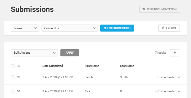View list of form submissions in Forminator