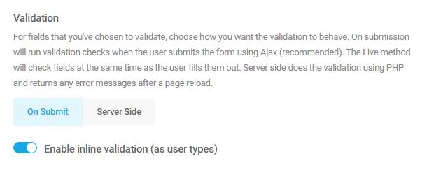 Field validation options in Forminator
