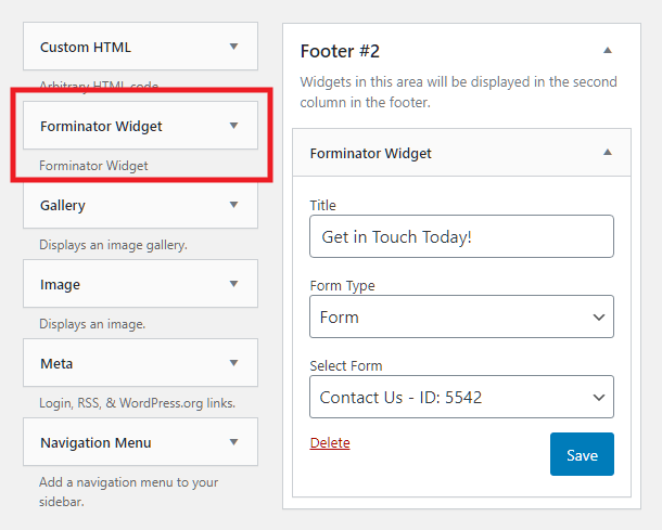 Adding a Forminator form with a widget