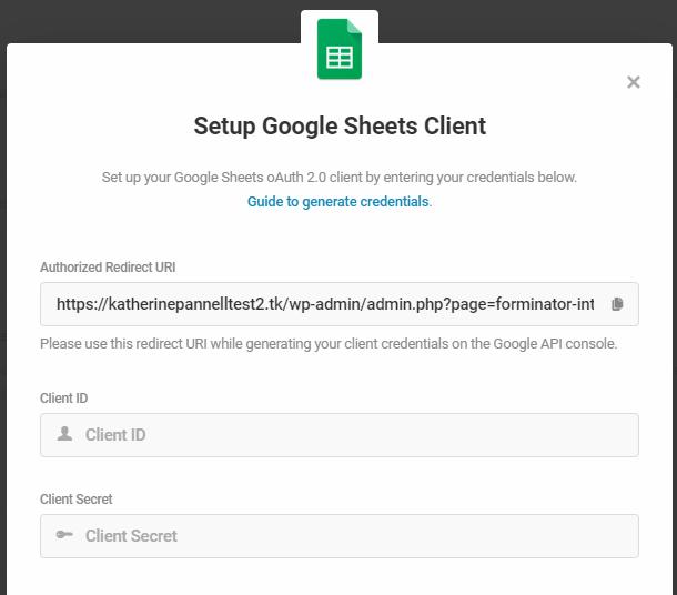 google cheets client credentials