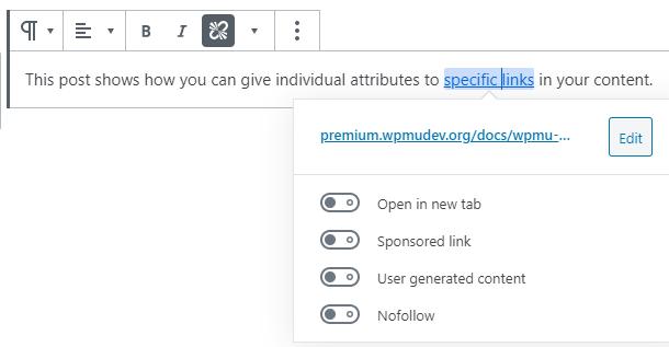 individual link settings