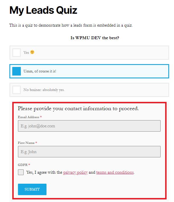 leads quiz example