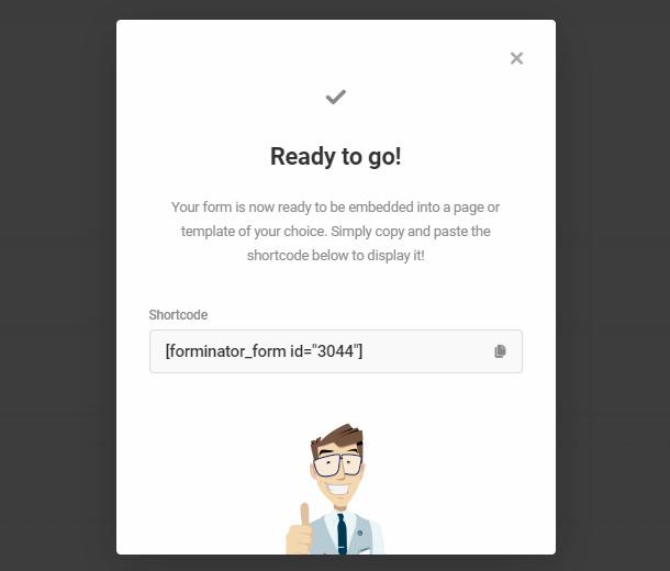 published form shortcode
