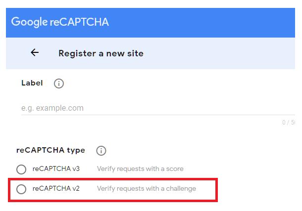 Select reCaptcha version at Google