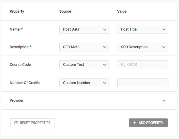 Course schema type default properties