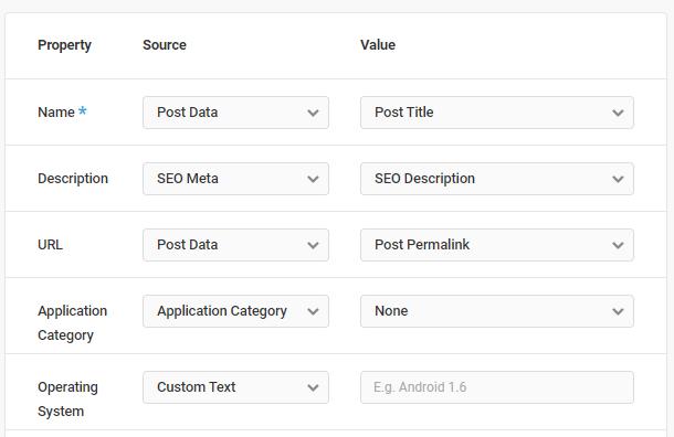 Software Application schema type default properties