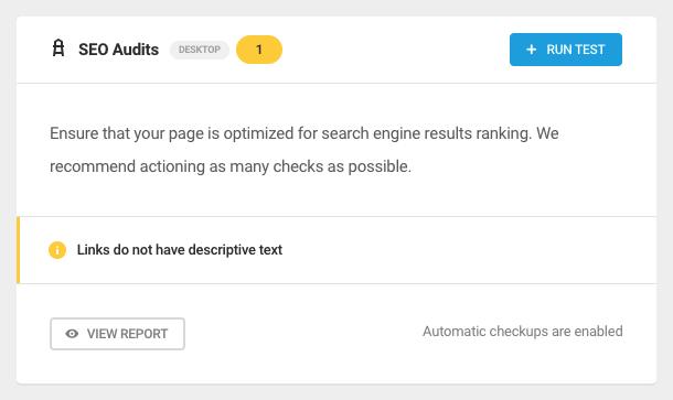 SEO Audits widget