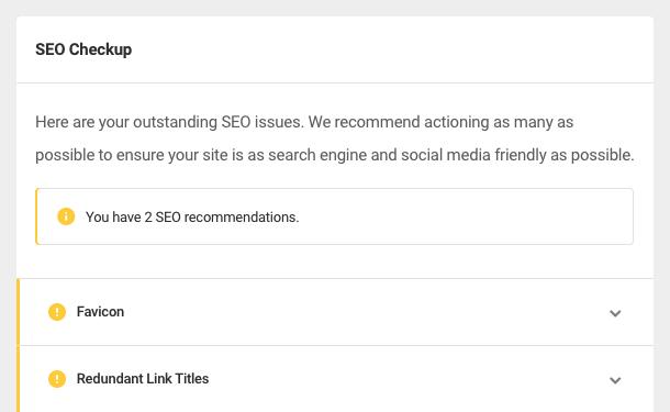 SEO Checkup results