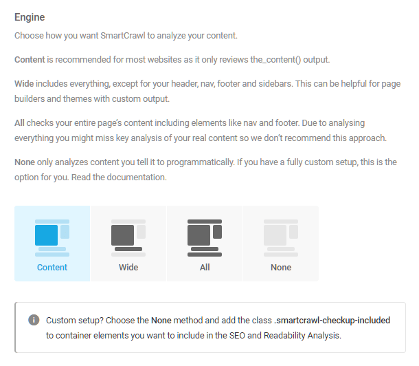 Select analysis engine in SmartCrawl