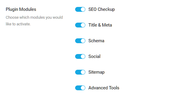 Select the modules to enable in SmartCrawl