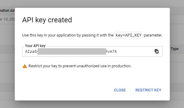 Copy API key from Google project