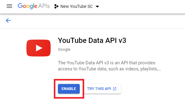 Enable YouTube Data API in Google project