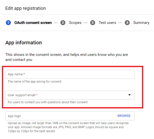 Enter name and email for Google app
