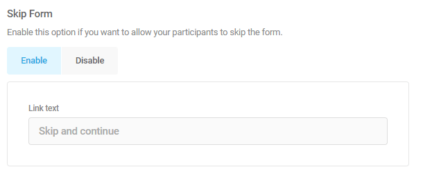 skip form feature