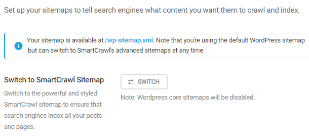 switch to smartcrawl sitemap button
