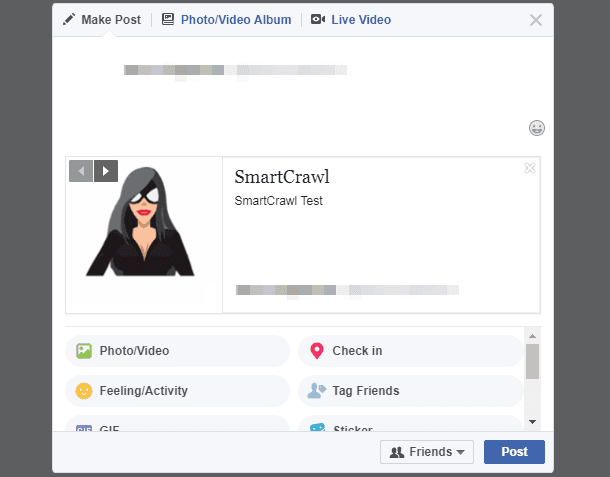 Homepage Facebook preview in SmartCrawl