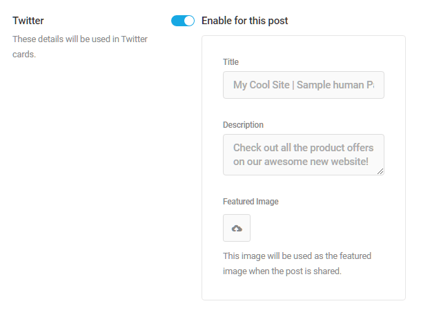 Homepage Twitter meta settings in SmartCrawl