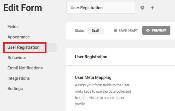 user registration tab
