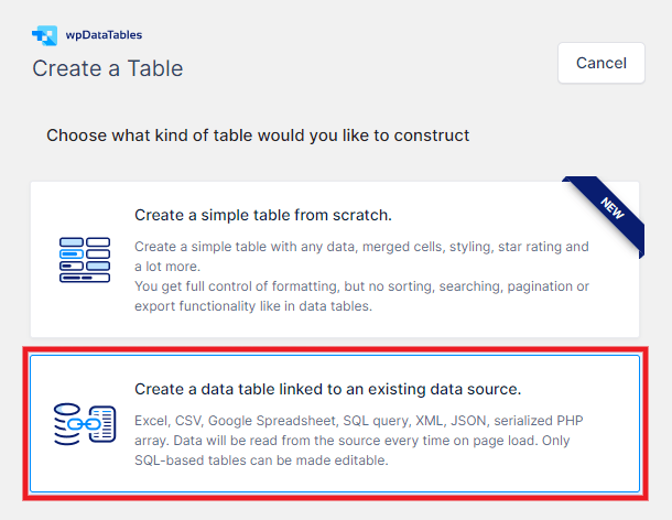 Create a table with wpDataTables
