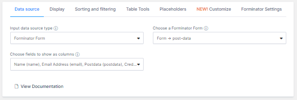 wpDataTables settings and options
