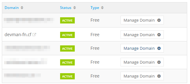 manage domain in freenom