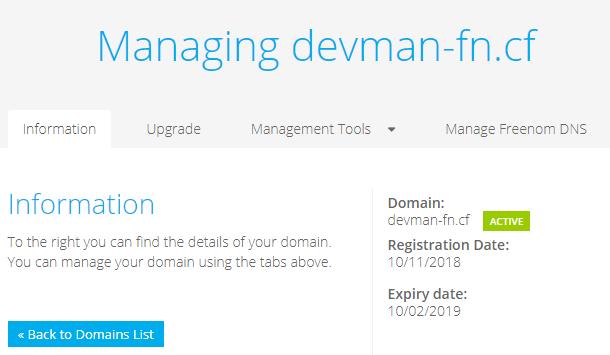manage freenom dns