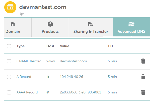 add dns records in namecheap
