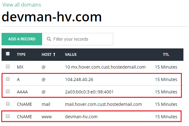 manage dns records in hover
