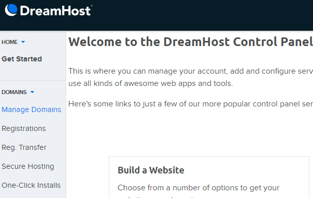 manage domains in dreamhost