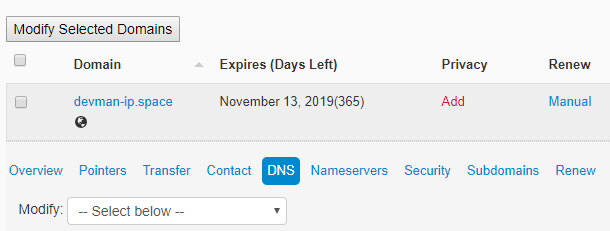 manage dns in ipage
