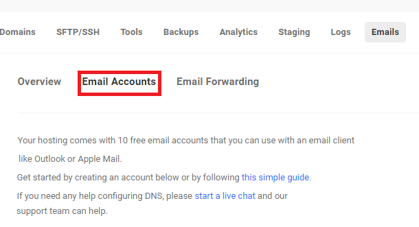 Email accounts tab