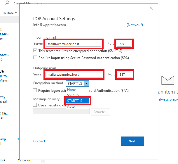 Outlook pop configuration screen