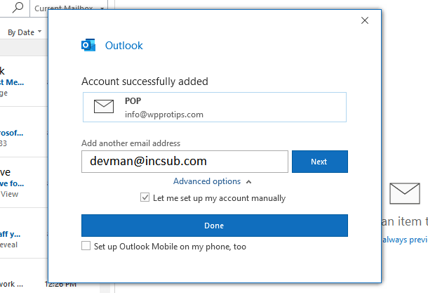 Hosted email connected to Outlook success