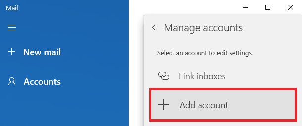 In the application settings, click Manage accounts, and then click Add account.