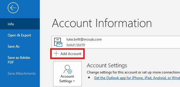 Outlook client add account