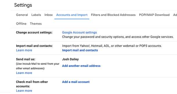 Add mail account to gmail