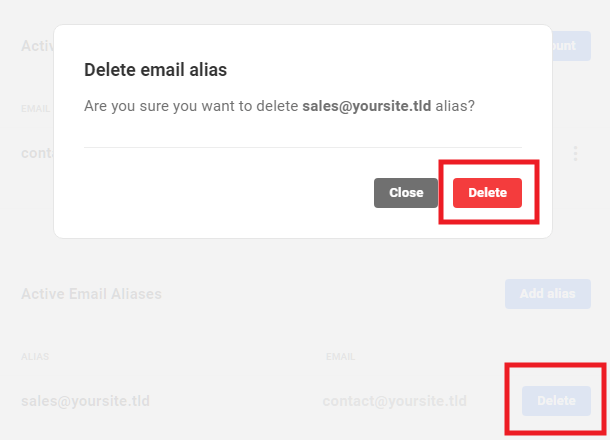 Delete an email alias in Hub 2.0