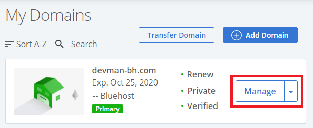bluehost my domains